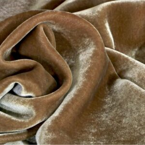 Beige Silk, Viscose Velvet fabric for Dress, Pants, Shirt, Skirt.