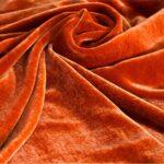 Tessuto Velluto Se/Viscosa 010 Arancione per Abbigliamento