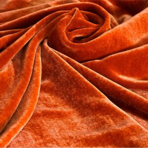 Orange Silk, Viscose Velvet fabric for Dress, Pants, Shirt, Skirt.