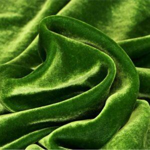 Tessuto Velluto Verde in Seta, Viscosa per Abito, Camicia, Gonna, Pantalone.