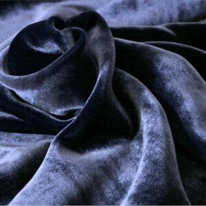 Tissu Velour Bleu en Soie, Viscose pour Chemise, Jupe, Pantalon, Robe.