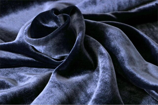Blue Silk and Viscose Velvet Fabric - 023