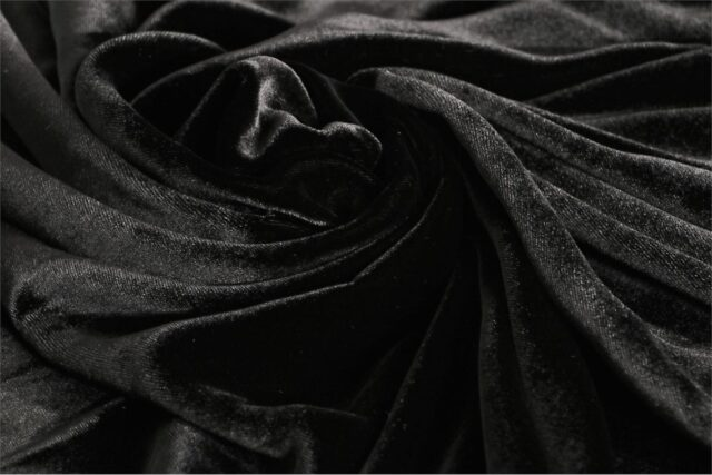 Black Silk and Viscose Velvet Fabric - 901