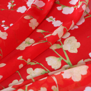 Red, White Silk Georgette Flowers Print fabric for Dress, Shirt.