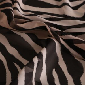 Black, Gray Silk Georgette Animals Print fabric for Dress, Shirt.