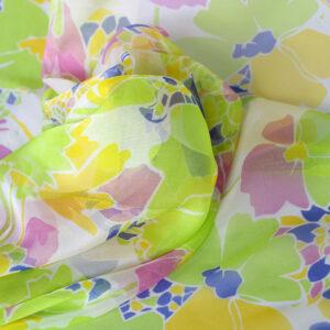 Tessuto Stampa Floreali Chiffon Multicolore, Verde in Seta per Abito, Camicia, Gonna.