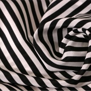 Black, White Silk Crêpe de Chine Stripes Print fabric for Dress, Pants, Shirt, Skirt.