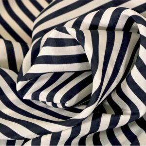 Blue, White Silk Crêpe de Chine Stripes Print fabric for Dress, Pants, Shirt, Skirt.
