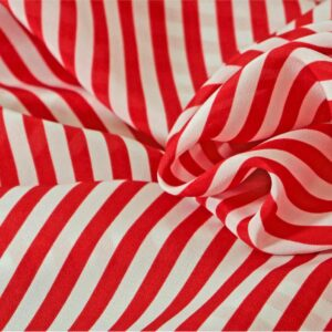 Red, White Silk Crêpe de Chine Stripes Print fabric for Dress, Pants, Shirt, Skirt.