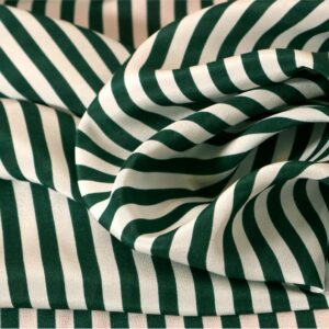 Green, White Silk Crêpe de Chine Stripes Print fabric for Dress, Pants, Shirt, Skirt.