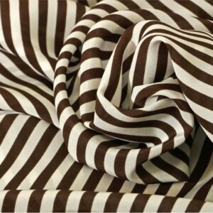 Brown, White Silk Crêpe de Chine Stripes Print fabric for Dress, Pants, Shirt, Skirt.