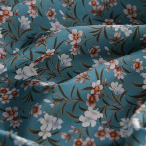 Blue Silk Crêpe de Chine Flowers Print fabric for Dress, Pants, Shirt, Skirt.