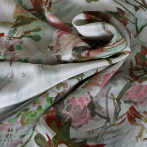 Beige, Pink Silk Crêpe de Chine Flowers Print fabric for Dress, Pants, Shirt, Skirt.