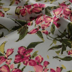Blue, Fuxia Silk Crêpe de Chine Flowers Print fabric for Dress, Pants, Shirt, Skirt.