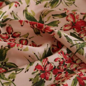 Pink, Red Silk Crêpe de Chine Flowers Print fabric for Dress, Pants, Shirt, Skirt.