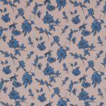 Blue, Gray Silk Crêpe de Chine Flowers Print fabric for Dress, Pants, Shirt, Skirt.