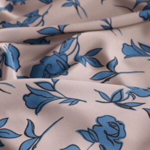 Blue, Gray Silk Crêpe de Chine Flowers Print fabric for Dress, Pants, Shirt, Skirt.