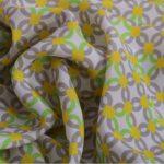 Tessuto Crepe Se Geometrico K04800 Giallo, Multicolore, Verde in Seta