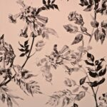 Gray, Pink Silk Flower Fabric - Crepe Se Fiori K00801