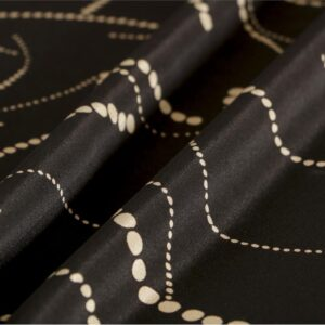 Black Silk Abstract Print fabric for Dress, Pants, Shirt, Skirt.