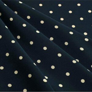 Blue, White Silk Crêpe de Chine Polka dot Print fabric for Dress, Pants, Shirt.