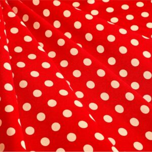 Red, White Silk Polka dot Print fabric for Dress, Pants, Shirt.