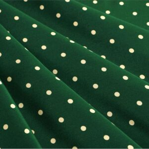Green, White Silk Crêpe de Chine Polka dot Print fabric for Dress, Pants, Shirt.