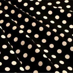 Black, White Silk Crêpe de Chine Polka dot Print fabric for Dress, Pants, Shirt.