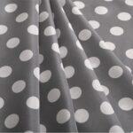 Gray, White Silk Polka Dot Fabric - Crepe Se Ominibus Maxi Pois 201906