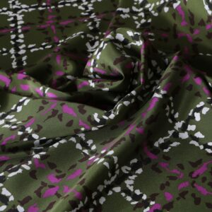 Beige, Fuxia, Green Silk Crêpe de Chine Tartan Print fabric for Dress, Pants, Shirt, Skirt.
