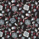Black, Gray, Red Silk Crêpe de Chine Flowers Print fabric for Dress, Pants, Shirt, Skirt.