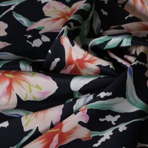 Black, Orange Silk Crêpe de Chine Flowers Print fabric for Dress, Pants, Shirt, Skirt.