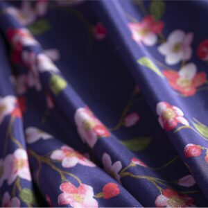 Blue, Purple Silk Flowers Print fabric for Dress, Pants, Shirt, Skirt.