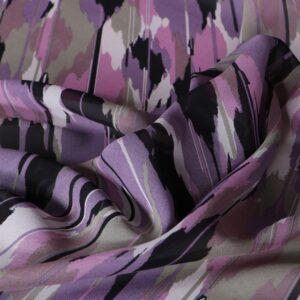 Tissu Imprimé Abstrait Georgette Fuchsia, Rose, Violet en Soie pour Chemise, Robe.