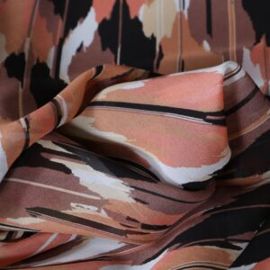 Brown, Orange Silk Georgette Abstract Print fabric for Dress, Shirt.