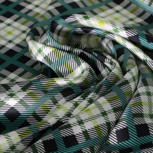 Green Silk Crêpe Satin Tartan Print fabric for Dress, Pants, Shirt.