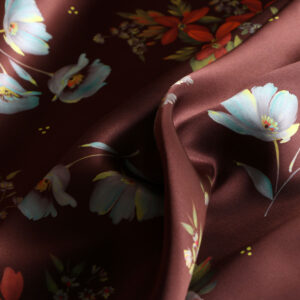 Brown, Orange Silk Crêpe Satin Flowers Print fabric for Dress, Pants, Shirt.