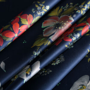 Blue, Red Silk Crêpe Satin Flowers Print fabric for Dress, Pants, Shirt.