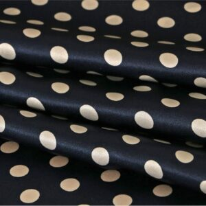 Blue, White Silk Crêpe Satin Polka dot Print fabric for Dress, Pants, Shirt, Skirt.
