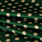Green, White Silk Satin Polka Dot Fabric - Raso Se Omnibus Pois 201604