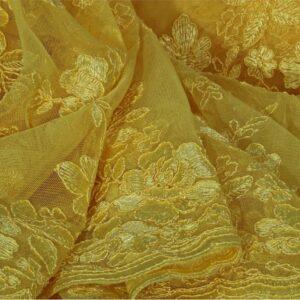 Tissu Dentelle-Broderie Jaune en Polyester pour Robe de cérémonie.
