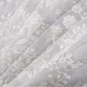White Polyester, Viscose Laces-Embroidery fabric for Wedding dress.