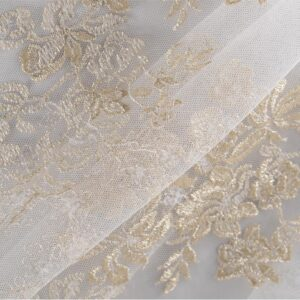 White, Yellow Cotton, Polyester Laces-Embroidery fabric for Ceremony Dress, Party dress, Wedding dress.