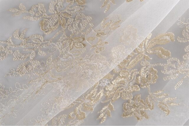 Luxurious gold embroidered tulle | new tess bridal fabrics