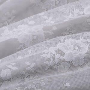 Tissu Dentelle-Broderie Blanc en Polyester pour Robe de mariée.