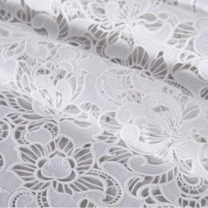 White Polyester Laces-Embroidery fabric for Ceremony Dress, Wedding dress.