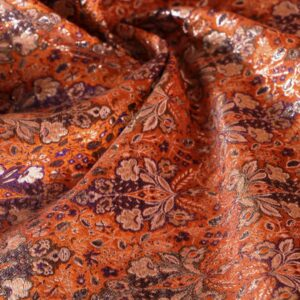 Orange, Silver Polyester, Silk Flowers Jacquard fabric for Ceremony Dress, Jacket, Party dress.