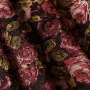 Brown, Green, Pink Polyester, Silk Flowers Jacquard fabric for Dress, Jacket, Skirt.