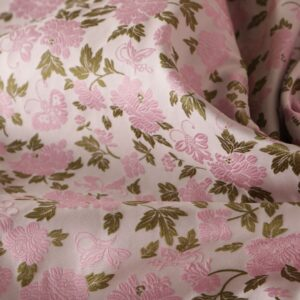 Pink Polyester, Silk Flowers Jacquard fabric for Ceremony Dress, Dress, Jacket, Skirt.