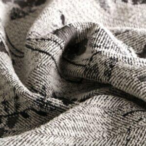 Tissu Jacquard Fleurs Gris, Noir en Laine, Polyester, Soie pour Robe, Veste, Veste-Manteau légère.
